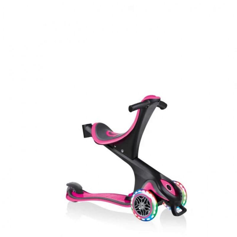 Тротинетка - триколка 5 в 1 със светещи гуми за деца, розова на супер цена 239.90 лв.