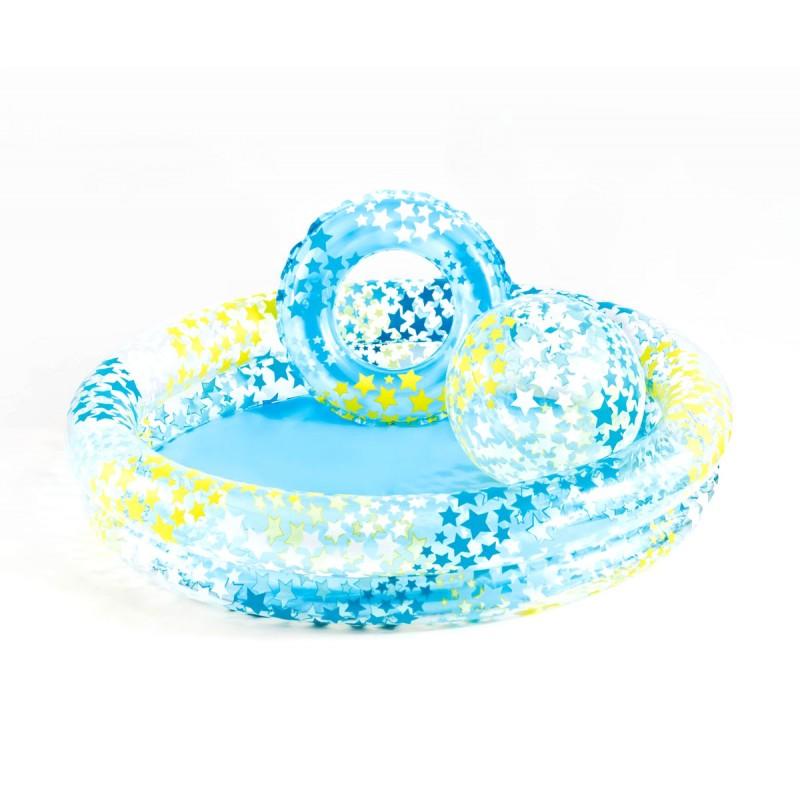 Надуваем комплект детски басейн, топка и пояс Звезди INTEX Stargaze 759460 на супер цена 16.90 лв.