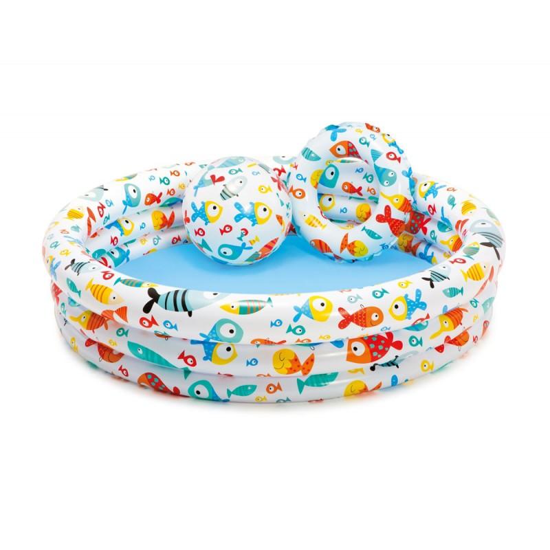 Надуваем комплект детски басейн, топка и пояс Рибки INTEX Fishbowl 759469 на супер цена 19.90 лв.