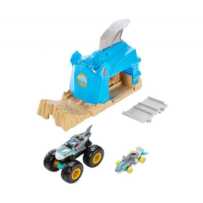 Hot Wheels: Monster Jam Гараж с изстрелвачка за голямо бъги, Team Shark Wreak 1720082_1 на супер цена 33.90 лв.